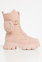 Seduction - Pocket pouch chunky boot - pink