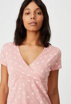 Cotton On - Bessie cross over mini dress - ruthie rose petal pink