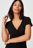 Cotton On - Bessie cross over mini dress - black