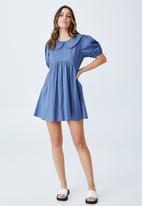 Cotton On - Woven jessie short sleeve collar babydoll mini dress - coastal blue