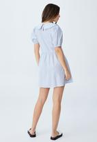 Cotton On - Woven jessie short sleeve collar babydoll mini dress - polly pinstripe sundfaded denim
