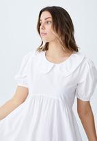 Cotton On - Woven jessie short sleeve collar babydoll mini dress - white