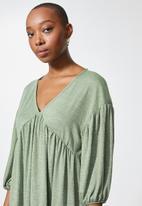 VELVET - Volume babydoll mini tiered dress - green