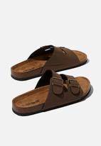 Cotton On - Double buckle sandal - dark brown