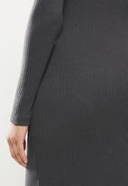 Missguided - Rib ring detail midi dress - charcoal