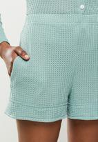 STYLE REPUBLIC - Waffle sleep top & shorts set - sage