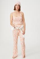 Cotton On - Bed time waffle pant - floral bunch ditzy orange
