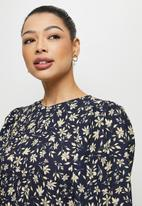 edit - Bellow sleeve tunic dress - navy ivory floral