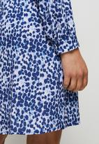 edit - Curved waist short dress - navy watercolour animal