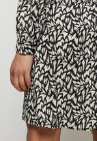 edit - Curved waist short dress - black ecru ikat animal