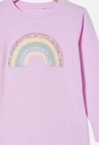 Cotton On - Stevie long sleeve embellished tee - pale violet/ patchwork rainbow