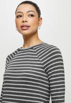 edit - Conscious long sleeve raglan slit midi - charcoal stripe
