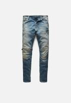 G-Star RAW - 5620 3d zip knee skinny - antic faded monaco blue destroyed
