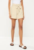 ONLY - Lavender paperbag shorts - pumice stone