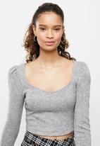 Blake - Cut & sew crop top - grey