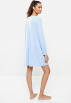 Blake - Printed long sleeve sleepset tee - blue