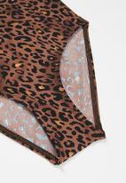 Rebel Republic - Girls strappy leopard one piece - brown