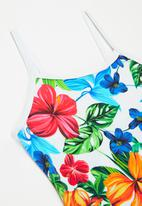 Rebel Republic - Girls strappy tropical floral one piece - multi