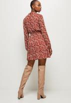 MILLA - Shirring waist turtle neck mini dress - multi
