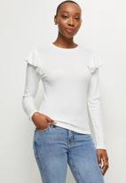 MILLA - Soft touch ruffle sleeve top - white