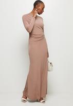 MILLA - Draped front long sleeve maxi dress - chocolate truffle