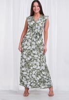 Stella Morgan - Floral sleeveless midi dress - sage