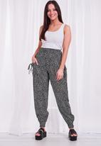 Stella Morgan - Animal print high waist harem pants - black