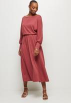 MILLA - Soft touch circle hem knit dress - rose