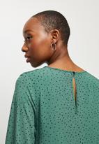 MILLA - Mini smock dress - green & black