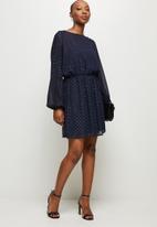 MILLA - Chiffon dolman sleeve mini dress - navy