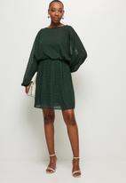 MILLA - Chiffon dolman sleeve mini dress - green