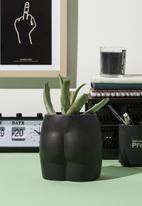 Typo - Midi shaped planter-matte black butt!