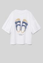 MANGO - T-shirt chancla - white