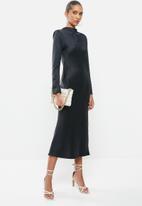 VELVET - Long sleeve satin slip midi dress with shoulderpads - black