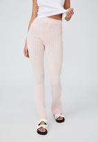 Cotton On - Cotton vegetable dye ribbed flare pant - mulberry pink marle