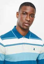 POLO - Costa long sleeve stripe golfer - blue