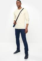 POLO - Roman pique long sleeve knit - ecru