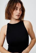 Cotton On - Junie seamless high neck tank mini dress - black