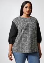 Superbalist - Combo fabric shell top - black