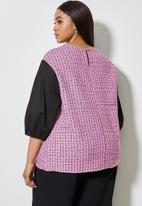 Superbalist - Combo fabric shell top - pink & black