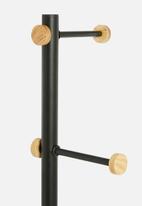 Sixth Floor - Iron coat stand with ash wood hooks - black