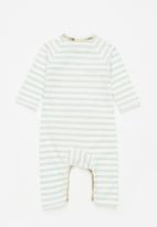Sticky Fudge - Dotted stripe & quilted floral babygrow - blue