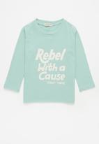Sticky Fudge - Rebel with a cause tee - aqua