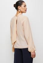 MILLA - Raglan turtle blouse with tie - neutral