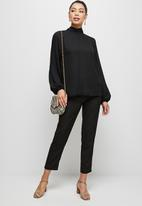 MILLA - Raglan turtle blouse with tie - black