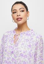 MILLA - Floral drop waist mini dress - Lilac