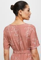 edit - Woven belted midi tunic - blush scribble