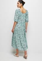 edit - Square neck tiered peasant dress - sage ditsy
