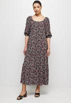 edit - Square neck tiered peasant dress - red ditsy