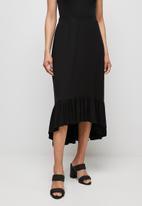 edit - Conscious tiered midi skirt - black